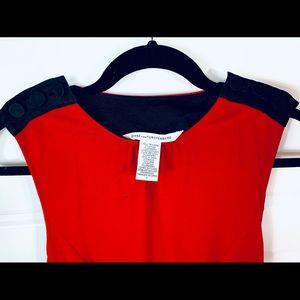 DVF red and black sleeveless dress